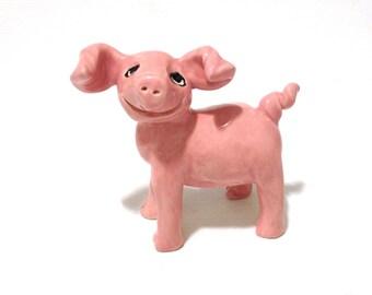 Pig Ring Holder, Hand-Built Pink Ceramic Pig Sculpture