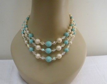 Vintage 3 Strand Turquoise & White Beaded Necklace