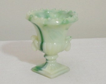 Vintage Green and White Akro Agate Urn