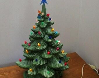 Vintage Atlantic Mold 1970s Ceramic Light Up Christmas Tree