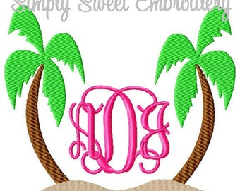 Two Palm Trees Machine Embroidery Design