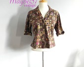 Vintage 1950s Top - Cute Women's 50s Rockabilly Shirt with fruit Print XL Plus - on sale