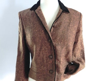 Vintage 1950s Fleck Jacket - 40s 50s brown with orange Fleck Jacket with Velvet Collar M L - on sale