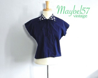 Vintage 50s Bolero Top Cute Embroiderd Collar Med Lg - on sale