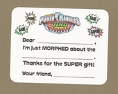 Power Rangers - Dino Charge - Samurai - Pink Power Rangers - Fill in the Blank Thank You Notes - Great for Children's Birthday Parties