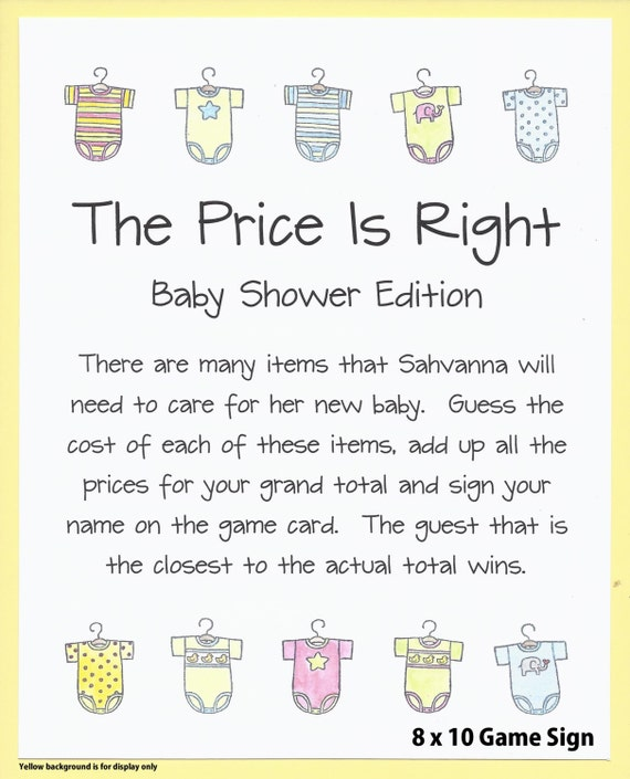 The price is right baby shower game guess the price baby for Price is right bridal shower game template