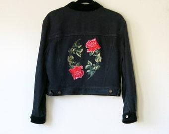 Rose Jacket / Denim Jacket / Patch Indigo Blue Jacket Size M