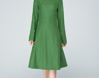 green dress, wool dress, winter dress, handmade dress, knee length dress, womens dress, made to order, gift for women  1593