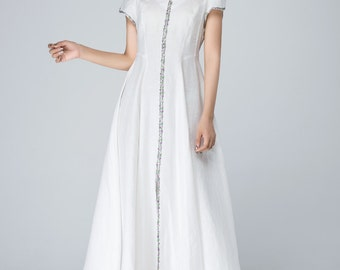 white dress, linen dress, prom dress, wedding dress, summer dress, handmade dress, maxi dress, short sleeves dress, made to order 1563