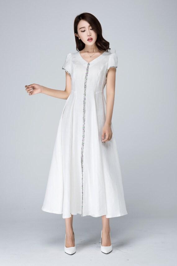 white dress, linen dress, prom dress, wedding dress, summer dress, handmade dress, maxi dress, short sleeves dress, made to order 1563