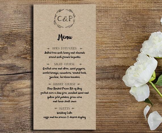Rustic Wedding Menu, Kraft Wedding Menu, Wedding Menu Card, Rustic Dinner Menu, Rustic Wedding Menus, Kraft Menu Wedding, Menu Card