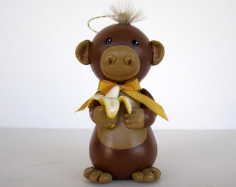 Monkey With Banana Ornament