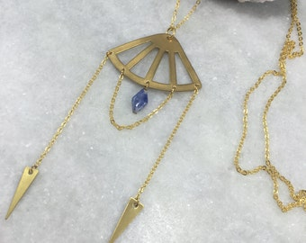 Open Fan Kyanite Necklace | Brass Pendant | N11613