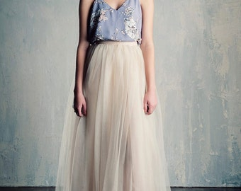 Champagne Blush Tulle Wedding Skirt Maxi/Floor Length Bridal Beige A line