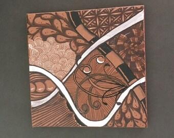"6×6 Ceramic Tile Hand-Painted, Zentangle Art,Original Tangled Art Piece, ""Depth"""