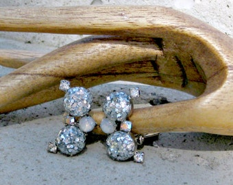 Clip Earrings Glitter Lucite Rhinestones Vintage 50s Jewelry