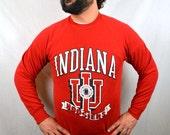 Vintage 80s 1989 Red Indiana Hooisers College University Sweatshirt