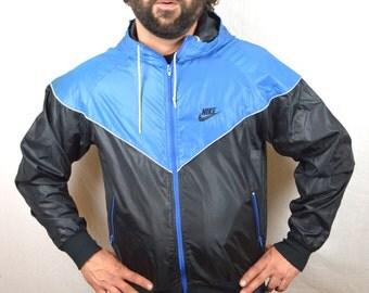 Vintage 80s NIKE Jacket Windbreaker Pullover - Blue Tag
