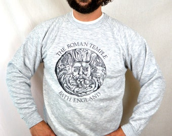 Vintage Gray Sweatshirt - Bath England Souvenir - The Roman Temple
