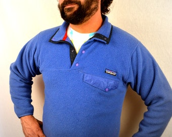Vintage 1980s Patagonia Blue Fleece Pullover Jacket Coat