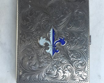 Vintage Blue Enamel Fleur de Lis Engraved Silver Cigarette Case