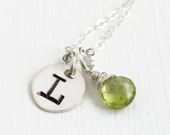 Personalized Initial Necklace / August Birthstone Necklace / Push Present August Baby / Peridot Initial Necklace / Handstamped Necklace