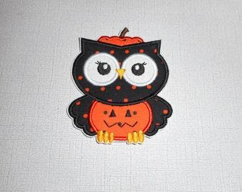 Free Shipping Ready to Ship Halloween Owl Pumpkin  Fabric Iron on applique
