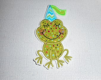 Free Shipping Ready to ShipParty Frog Fabric iron on applique