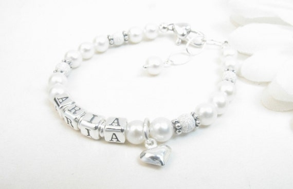 Pearl NAME Bracelet : Real Pearl Personalized Bracelet for Baby, Toddler, Child, Girl