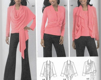 Uncut, Misses Size 14-22, Sewing Pattern, Simplicity 2603, Cardi Wrap, Knit, Top, Cardigan, Fly Away, Jacket, Cowl, Knots, Ties, Plus Size