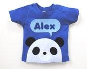 Organic Baby T-Shirt : Baby Boy Personalized Baby Panda T-Shirt, Baby Boy, Baby Shower Gift