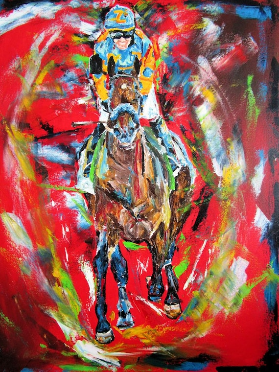 """American Pharoah Horse Racing art limited edition print 11""""x14"""" with mat signed"""