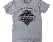 Mens Tshirt Adventure - camping graphic tee, inspirational outdoor shirt, mountain screenprint