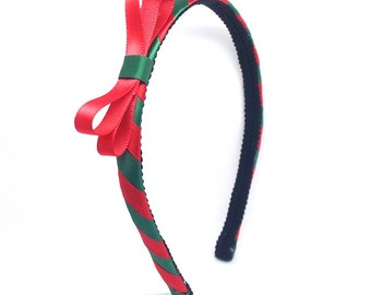 Christmas Headband with Bow - Red and Green Candy Cane Headband - Little Girl, Big Girl Bow Headband, Adult Bow Headband, Christmas Bow