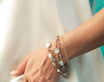 Fine Jewelry, Delicate Bracelet, Gold Bracelet, Mint Bracelet, 14K Gold Bracelet, 14K Gold Jewelry, Beach Jewelry, Delicate Gold Jewelry