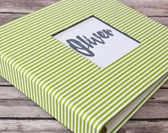 PRE-ORDER // Baby Book, Baby Gift, Baby Album, Baby Memory Book, Baby Keepsake, Modern Baby Book, Green Stripes