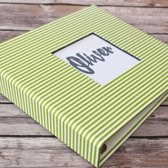 Baby Book, Baby Gift, Baby Album, Baby Memory Book, Baby Keepsake, Modern Baby Book, Green Stripes