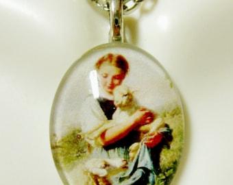 Saint Agnes pendant with chain - GP12-348