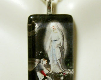 Our Lady of Lourdes with Bernadette pendant with chain - GP09-005