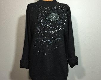 Vintage 90's Black Beaded Spider Web Angora Sweater Goth Halloween Sequins M