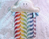 Mini Cloudy Rainbow Plush - Spoonflower Rainbow Fabric - Smitten Tala Astra and Tula Migaloo Happy Wrap Scrap