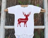 Kids Christmas Shirt - Kid Holiday Shirt or Onepiece - Deer Shirt - Red Deer Shirt - Christmas Pajamas - Family Shirts - Family Photo Outfit