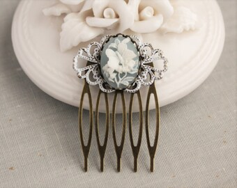 Dusty Blue Butterfly Hair Comb in Antique Brass. Small Hair Comb