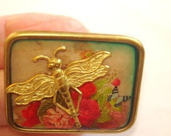 Vintage Gold Tone  Dragonfly Jewelry Animal Brooch