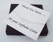 Infinity Sterling Silver Necklace ~~Personalized Jewelry Gift Card for Mom, Mother in Law, Mother of Groom, or Step Mom, Thank You Card