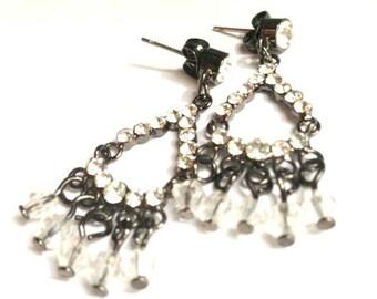 Vintage Rhinestone Chandelier Earrings - Black
