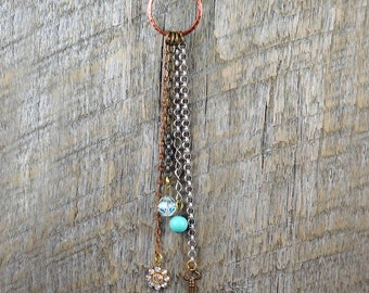 Boho Tassel Necklace, Charm Necklace, Geometric Necklace, Circle Jewelry, Key Necklace, Layering Necklace