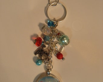 EOD Master badge with red Heart and Aqua background Beaded Dangle Key ring Purse charm  beaded keychain