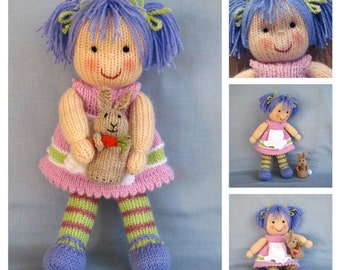 Lucy Lavender and bunny knitting pattern - Pdf INSTANT DOWNLOAD - knitted doll and rabbit