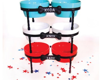 Raised Dog Bowls - Diner - Ceramic dog bowls - Pet Bowls with metal Stand - turquoise - Red - White - Doggie Diner - Dog Bowl Set